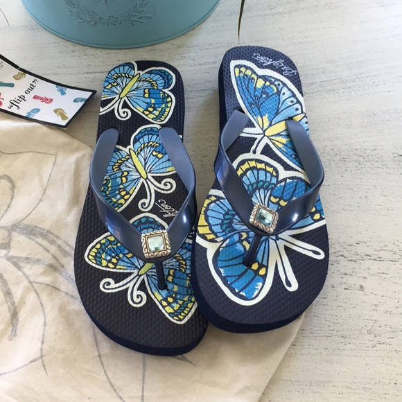 3424fb150 NEW Brighton flip flops. Navy. Size 8
